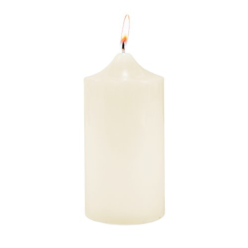 Super Z Outlet 3' x 6' Unscented Ivory Pillar Candle for Weddings, Home Decoration, Relaxation, Spa, Smokeless Cotton Wick. (1 Candle)