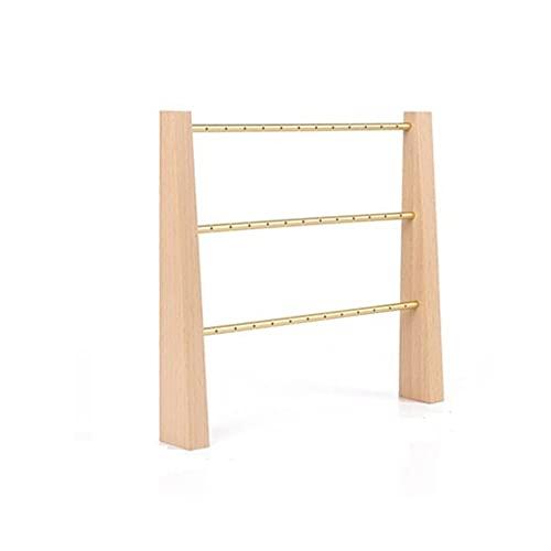 LYLY Soporte organizador de joyas de 3 niveles, soporte moderno para joyas de madera y expositor de mesa, estante de almacenamiento para collares, pulseras, sostenedor de joyas (color de haya)
