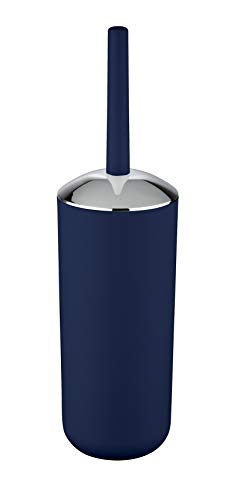 WENKO WC-Garnitur Brasil Dunkelblau - WC-Bürstenhalter, absolut bruchsicher, Kunststoff (TPE), 10 x 37 x 10 cm, Dunkelblau