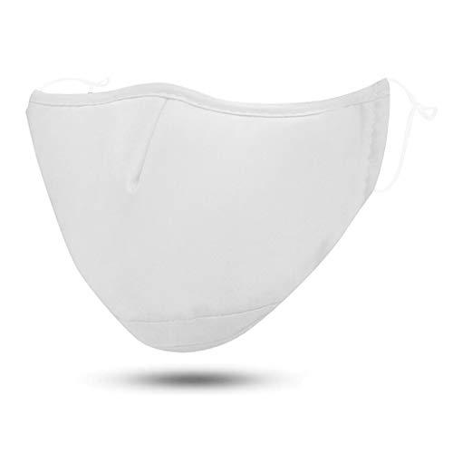 FLOWZOOM Stoffmaske | Behelfsmaske | Community-Maske | Alltagsmaske waschbar, wiederverwendbar mit verstellb. Gummibänder | Innen Baumwolle, außen Polyester | Mit Filterfach (Weiß)