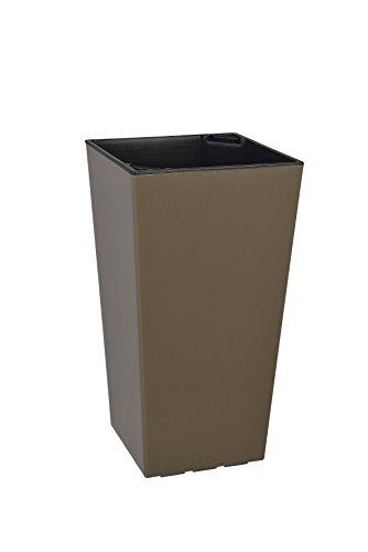 Plastkon Décoration Pot dans de et Outdoor Pot Elise Brillant 15 cm Taupe/Noir