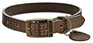 Bond & Co Brown Houndstooth Leather Dog Collar~Small~