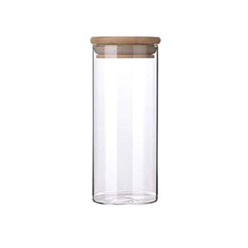 Timetided Frascos herméticos de Vidrio de borosilicato Alto Latas de té Rectas Botellas de Almacenamiento de Aperitivos de Frutas secas Frascos de Almacenamiento de Dulces