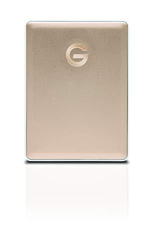 G-Technology G-Drive Mobile USB-C 2 TB (elegantes Aluminium-Design, schnelle Übertragungsrate 140 MB/s, USB-C-fähig, kompatibel mit USB 3.0 und Thunderbolt 3, Mac-kompatibel) gold