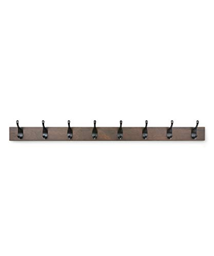AmazonBasics - Holz Wandgarderobe - 8 Moderne Haken, 92 cm, Walnuss