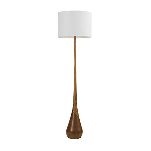 Globe Electric Novogratz x Globe Harrington 65' Floor Lamp, 2-Tone Faux Wood Base, White Fabric Shade, Socket Rotary Switch 67225