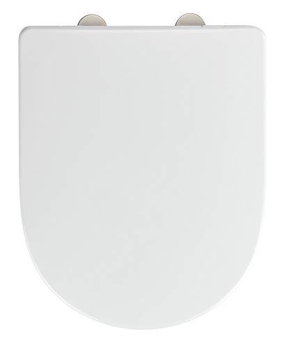 WENKO WC-Sitz Exclusive Nr. 10, hygienischer Toilettensitz mit Absenkautomatik, passend für Laufen Pro und handelsübliche Keramiken, WC-Deckel aus antibakteriellem Duroplast, 36,5 x 45 cm, Weiß