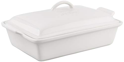 Le Creuset Heritage Stoneware Covered Rectangular Casserole, 4-Quart, White