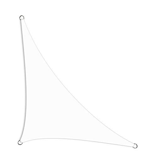 Schramm® Sonnensegel dreieckig in 2 Sonnenschutz Sichtschutz Windschutz, Farbe:Weiss, Größe:2.50 m x 2.50 m x 3.50 m