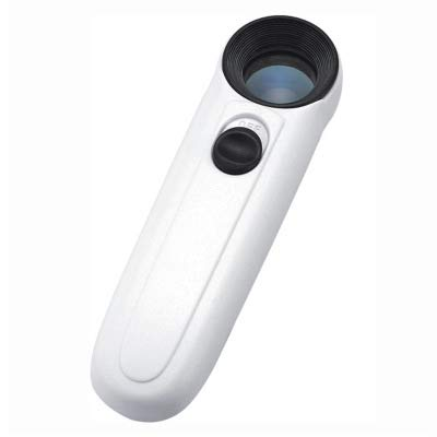 40X Handheld High Power Magnifier Magnifying Glass Jeweler Eye Jewelry Loupe with 2-LED Light Leather Case (White with Black)