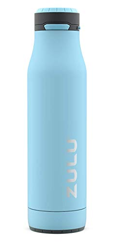ZULU Ace Vacuum Insulated Stainless Steel Water Bottle with Removable Base - Leak Proof Lid - Antimicrobial Spout, 24 oz, Ice Blue