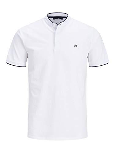 Jack & Jones Jpraxel Bla. Mao Polo SS STS Camisa, Blanco, L para Hombre