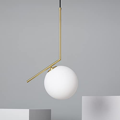 LEDKIA LIGHTING Lampada a Sospensione Moonlight 530x200x260 mm Dorato E14 Alluminio - Vetro per Sale, Soggiorno, Cucina, Camera