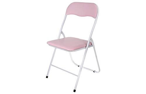 HERSIG - Silla Plegable | Silla Metalica Plegable - Color Blanco y Rosa Pastel