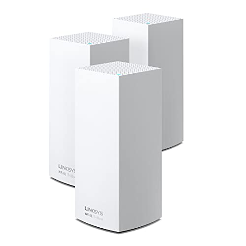 Linksys Atlas Max AXE8400 WiFi 6E Mesh System, Tri-Band Wireless Gigabit Router, Speeds up to 8.4Gbps, Coverage up to 9,000 sq ft, up to 195 Devices, 3-Pack, Comes with WUSB6100M (MX8503W-AMZ)