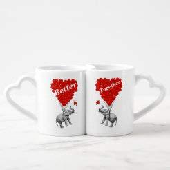 Funny Romantic Elephant Coffee Mug Set, 2 Pack Heart Handle Coffee Mugs Tea Cups Gift For Men Women Couples