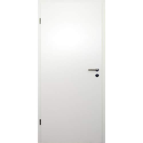 HORI® Zimmertür Komplettset mit Zarge und Türdrücker I Innentür weiß lackiert I Höhe 198,5 cm I 735 mm I DIN Links I Wandstärke: 80 mm (78-97 mm) mm
