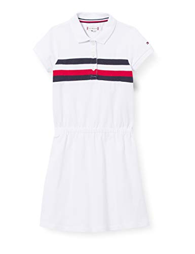 Tommy Hilfiger Pique Polo Dress S/S, Vestido Niñas, Blanco, 34