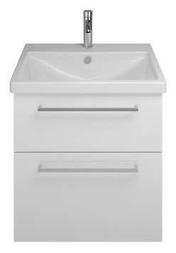Burgbad Eqio Keramik-Waschtisch inklusive Waschtischunterschrank SEYQ063, Breite 630 mm, Farbe (Front/Korpus): Weiß Hochglanz/Weiß Glänzend, Stangengriff Chrom P95 - SEYQ063F2009P95