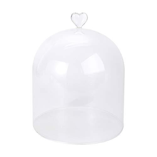 UPKOCH Dekorativ glaskupol rosenglas kupol tårta glasskydd hjärta glas ost kupol kaka kupol tårtskydd mat täcka tårta tallrik skydd för juldekoration
