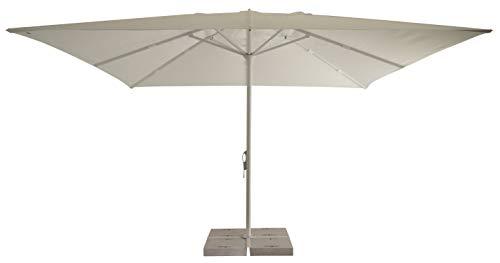 Tempo Style Brera - Paraguas para exteriores, 4 x 4 m, luces LED, sombrilla de jardín profesional de aluminio, parasol de exterior, paraguas de estacionamiento de playa, Bianco Lucido - Bianco