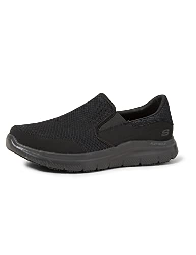 Skechers Flex Advantage Hombre Piel Zapato de Trabaja, Negro, 45 EU