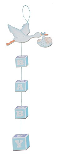 Bieco Holz Dekohänger Storch | Kinderzimmer Deko | Bilder Kinderzimmer | Wandtattoo Kinderzimmer Deko | Bilder Babyzimmer Deko | Wandsticker Kinderzimmer Jungen&Mädchen | Storch Geburt |  Wand Deko