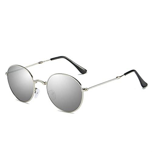 WWWL Gafas de Sol Gafas de Sol polarizadas de Espejo de conducción plegadas Pliegue Gafas de Sol portátil (Lenses Color : C6 Silver Silver)