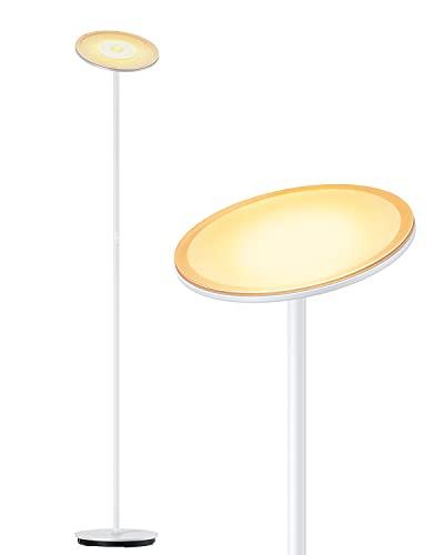 Stehlampe LED Deckenfluter Dimmbar 5 Helligkeitsstufen, 70′ Touch Stehleuchte für Wohnzimmer Schlafzimmer Büro, kompatibel mit Smart-Plug, Gladle 3000K (Weiß) Hohe Stehende Moderne Pole-Licht