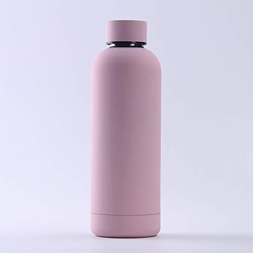 XYAN vacío matraz de Acero Inoxidable Botella de Termo Botella Deportes al Aire Libre Botella de Agua Gran Vientre Taza de Bebida Taza de Viaje (Capacity : 500ml, Color : Rosado)