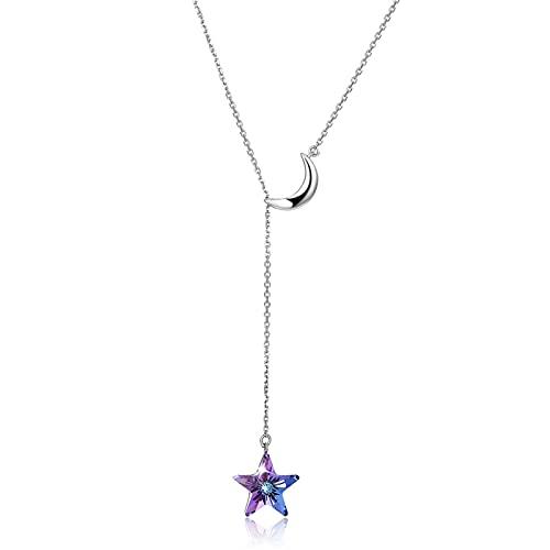 BENHAI Mujer/Niñas Estrellas Luna Diseño Cristales Colgante Collar, 925 Plateado Swarovski Element Colgante Joyería Regalo para el día de la Madre para Mujer De Amor Regalos para Mamá 45cm