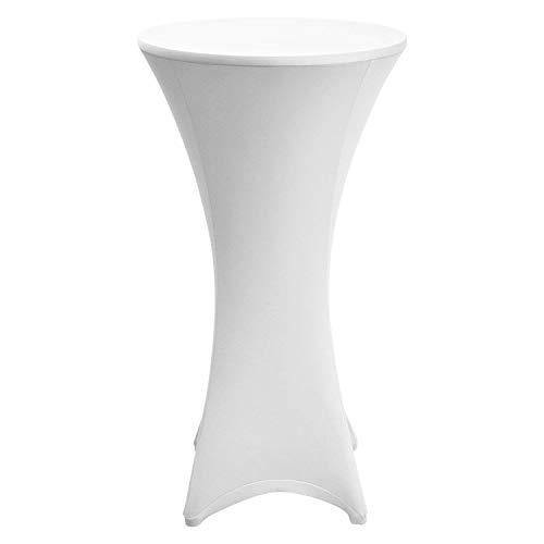 Beautissu Stretch Stehtischhusse Stella für Bistrotisch Ø 80-85 cm, elegante Stretchhusse weiß als Tisch-Überzug