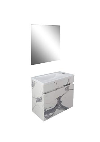 STARBATH PLUS Conjunto Mueble de Baño Suspendido MDF Lavabo Resina Espejo (Calacatta, 40 x 22 cm)