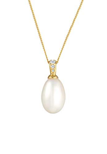 DIAMORE Halskette Damen Süßwasserzuchtperle mit Diamant in 585 Gelbgold