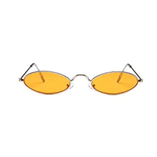 Tree-es-Life Gafas de Sol de Metal Gafas de Sol de Moda con Montura pequeña Gafas de Sol ovaladas para Hombres y Mujeres Gafas de Sol Plateadas y Naranjas Montura Plateada y Ovalada de Vidrio Naranja