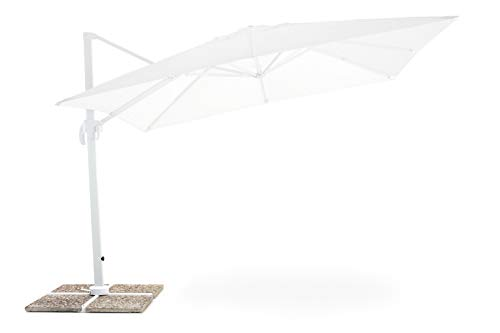 My_garden Senso Ombrellone a Braccio Retrattile, Bianco, 3 x 4 Metri