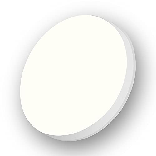 Aogled LED Lámpara de Techo 18W 1800LM 4000K Blanco Natural Plafón de Techo Redondo 22 cm,No-Regulable Luz de Techo Permeable IP54,Sin Sensor,LED Plafón Para Dormitorio Baño Cocina Pasillo Comedor
