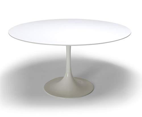 Unbekannter Tisch Tulip Tisch – Design von Eero Saarinen – Fiberglas Weiß