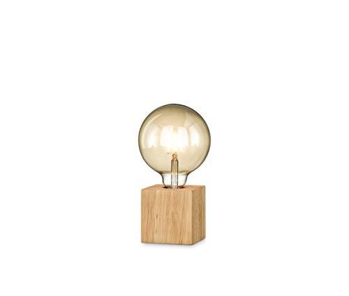 loxomo - Holz-Würfel Tischleuchte, 9 x 9 x 9 cm, Holz Tischlampe E27, Hue- und LED-Leuchtmittel kompatibel bis max.60W, Holz Eiche, ohne Leuchtmittel