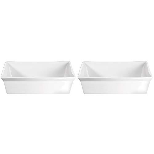 ASA Selection 52032/017 250° Poletto Auflaufform Gratinform, quadratisch, 23 x 23 x 6 cm, 1,5 Liter, weiß (2 Stück)