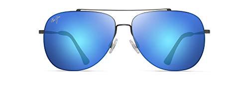 Maui Jim Cinder Cone w/Patented PolarizedPlus2 Lenses Aviator Sunglasses, Satin Dark Gunmetal/Blue Hawaii Polarized, Medium