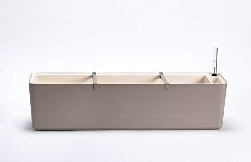 Berberis Blumenkasten Pflanzkasten mit Bewässerungssystem Selbstbewässerung 60cm und 80cm, Größe/Durchmesser:60 cm, Farbe:Taupe - Elfenbein