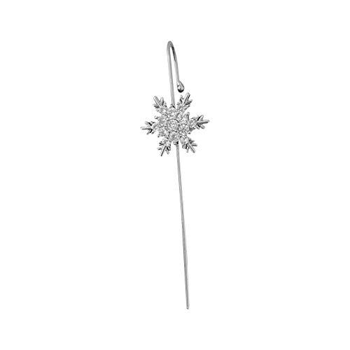 Richo Ear Wrap Crawler Hook Earrings - Snowflakes Cubic Zirconia Rhinestone Ear Clip Wire Earrings - Women Crawler Earrings Hook Earrings Jewelry Gift