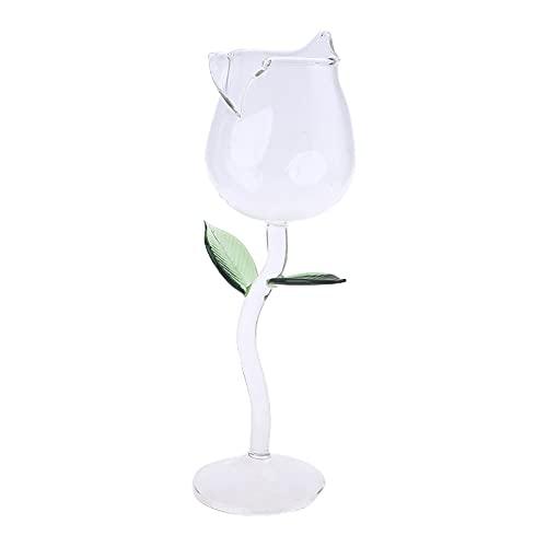 LINMAN Copa de Vino Rose Flower Forma Cubileta Línea de Plomo Red Wine Cocktail Gafas Home Wed