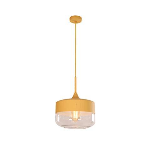 LF- Led lámpara de Apartamento Pequeño Salón Comedor Dormitorio de la lámpara de Cristal Simple Hierro Forjado decoración del hogar de la lámpara (Color : Yellow d)