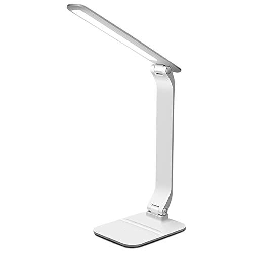 Lámpara de Escritorio Llevada Metal, Lámpara de Mesa de Lectura Plegable con Puerto de Carga USB, con Soporte para Teléfono 3 Modos de Color y 3 Niveles de Brillo, con 600 Lúmenes