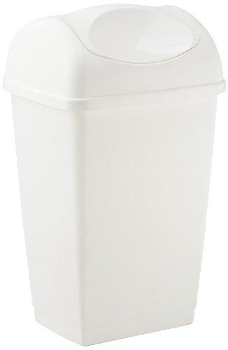 axentia Schwingdeckeleimer ca. 50 l, Abfalleimer aus weißem Kunststoff, geruchshemmender Mülleimer mit Schwingdeckel