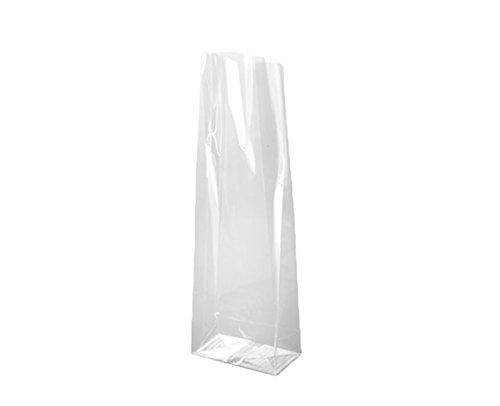 Sacchetti in cellophane trasparente (polipropilene) da 8 + 5 x 24 cm con soffietto e base quadrata 8 + 5 x 24 cm trasparente