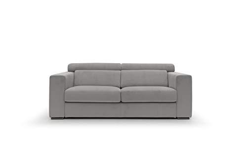 Sofá fijo de tela suave totalmente desenfundable, modelo Titan de 3 plazas o esquinero con chaise longue derecha o izquierda, estructura de madera, fabricado en Italia, color gris, 2,5 plazas