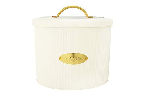 Creative Co-Op DF2516 Oval Metal Lid Bread Box, Off-White